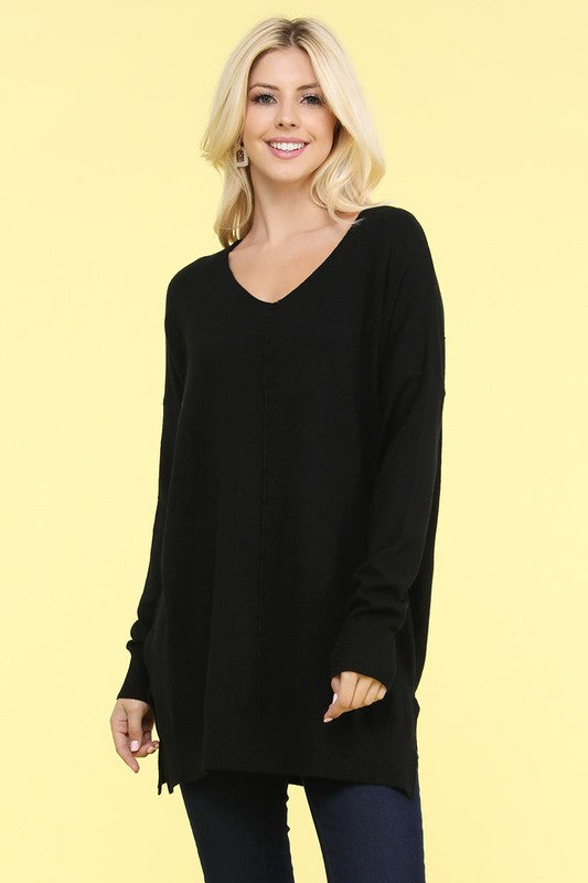 Plus Super Soft Tunic Sweater - Black.