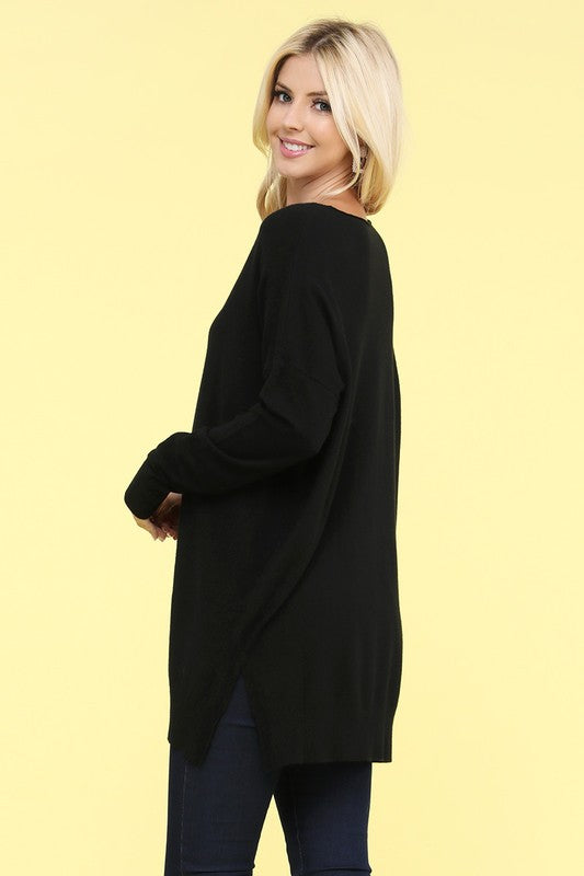 New Winter Ninexis - Super Soft Tunic Sweater - Black (Regular and Plus Size).