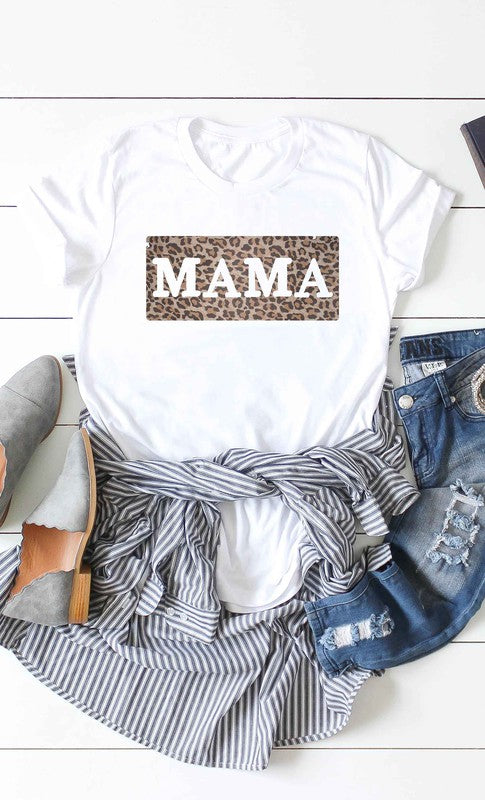 Leopard Block Mama T-Shirt - White.