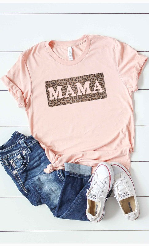 Leopard Block Mama T-Shirt - Peach.