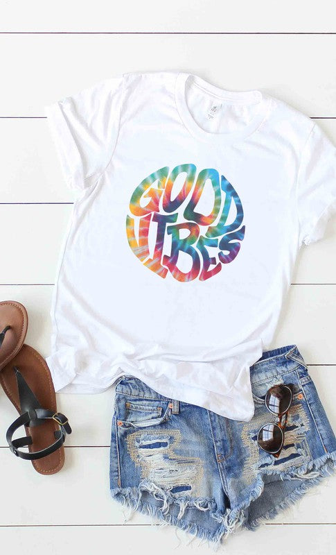Tie Dye Good Vibes T-Shirt - White.