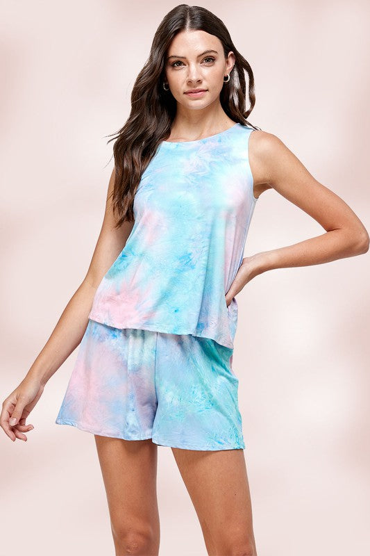 Tie Dye Sleeveless Lounge Set.