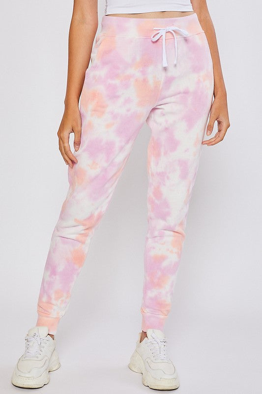 Relaxed Fit Jogger - Pink Tie Dye ( Pockets).