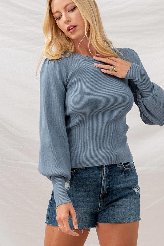 Dolly Sweater - Blue Stone - OWN YOUR ELEGANCE