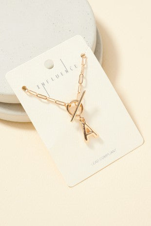 Toggle Initial Charm Necklace - Gold.