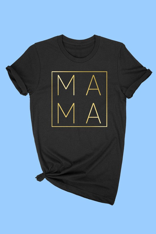 New Winter ALPHIA Gold Foil Mama T-Shirt - Black - OWN YOUR ELEGANCE