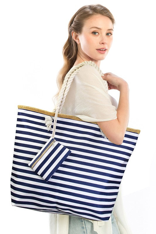 Stripe Tote Bag - Navy Blue.
