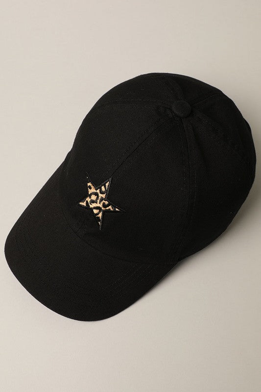 Leopard Star Baseball Cap - Black