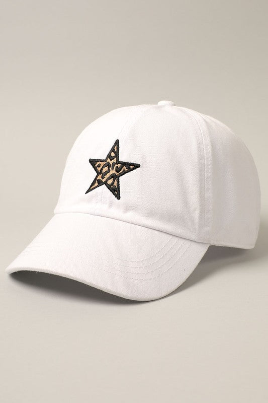 Leopard Star Baseball Cap - White