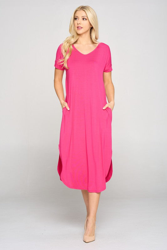Casual Curved Hem Midi Dress - Fuchsia.