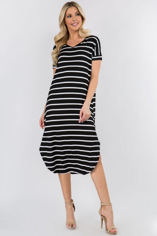 Casual Striped Midi Dress - Black.
