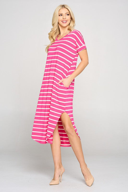 Casual Striped Midi Dress - Fuchsia.