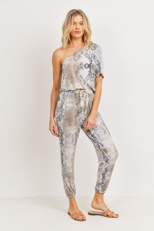 Python One Shoulder Jumpsuit.