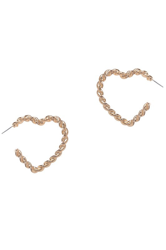 Heart Rope Earrings - Gold
