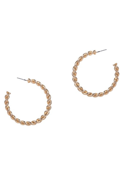 Twisted Rope Earrings - Gold