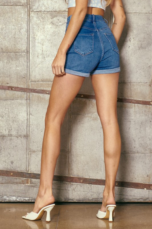 Natalie Med Wash Denim Short