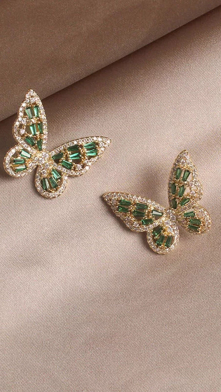 Butterfly Earrings - Green - OWN YOUR ELEGANCE