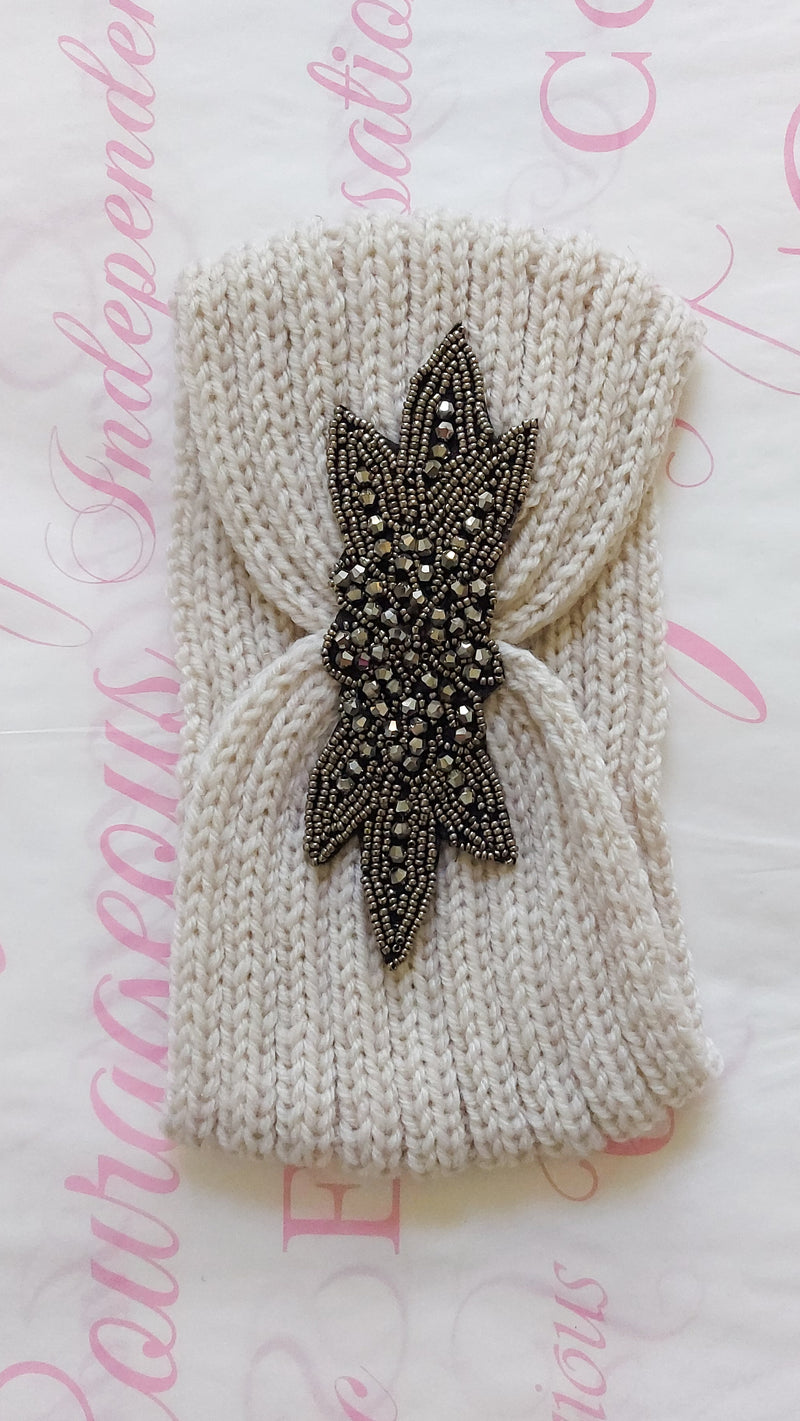 Knitted Beaded Ear Warmers - Beige - OWN YOUR ELEGANCE
