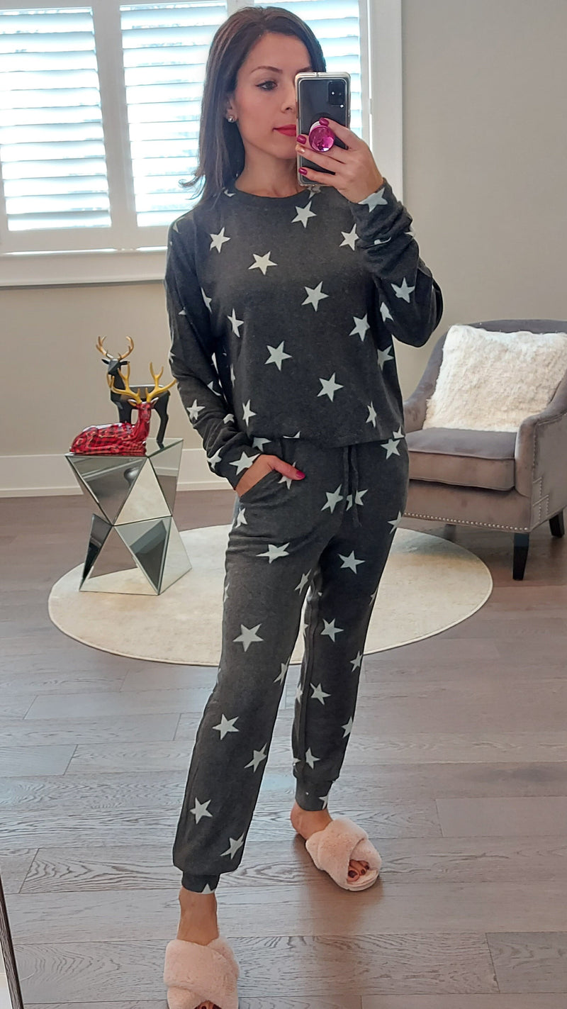 Charcoal Star Lounge Set -Top & Joggers.
