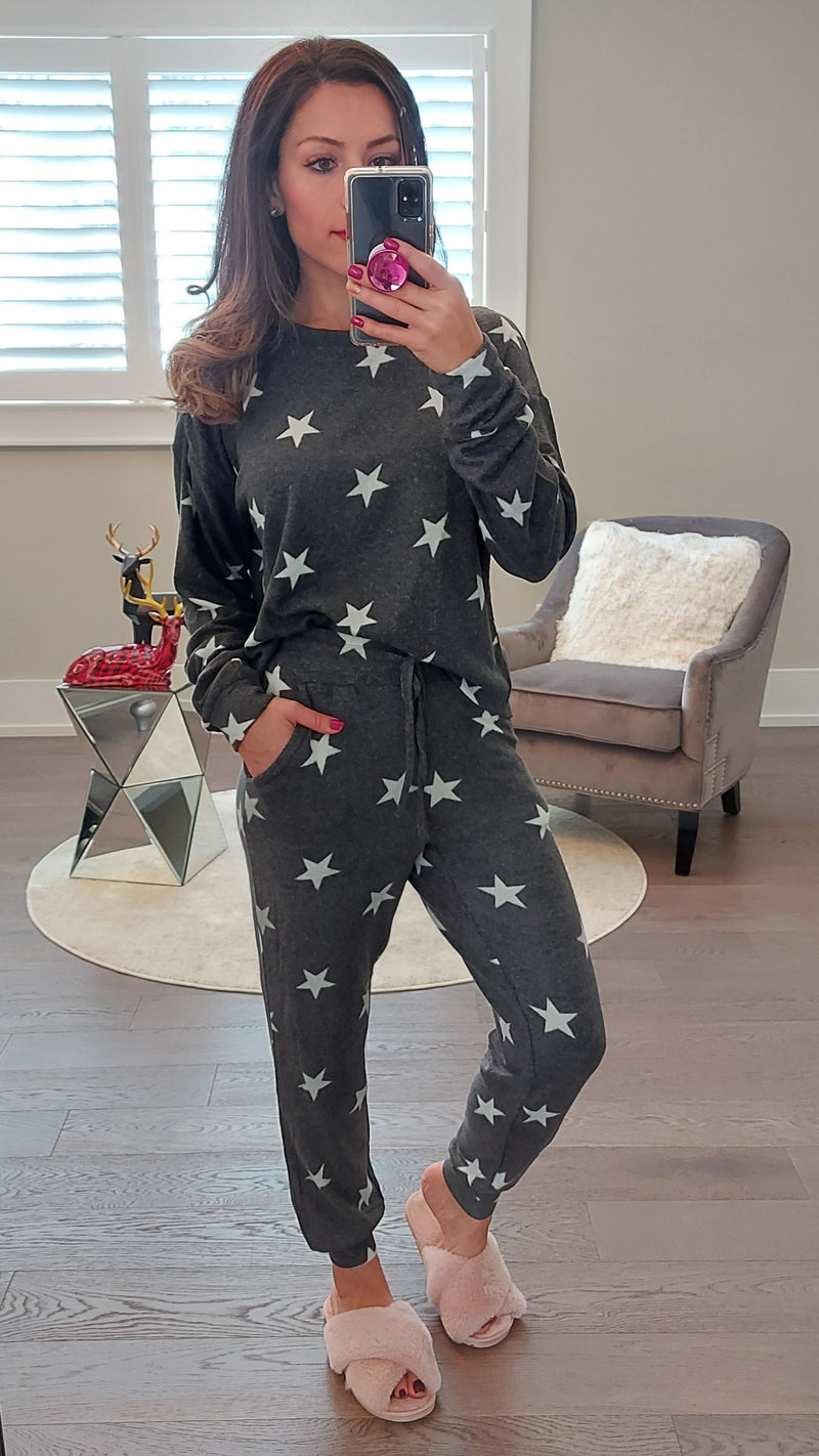 Charcoal Star Lounge Set -Top & Joggers - OWN YOUR ELEGANCE