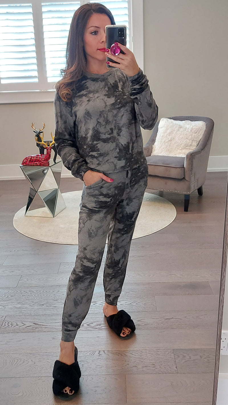 Grey Tie Dye Lounge Set - Top & Joggers.