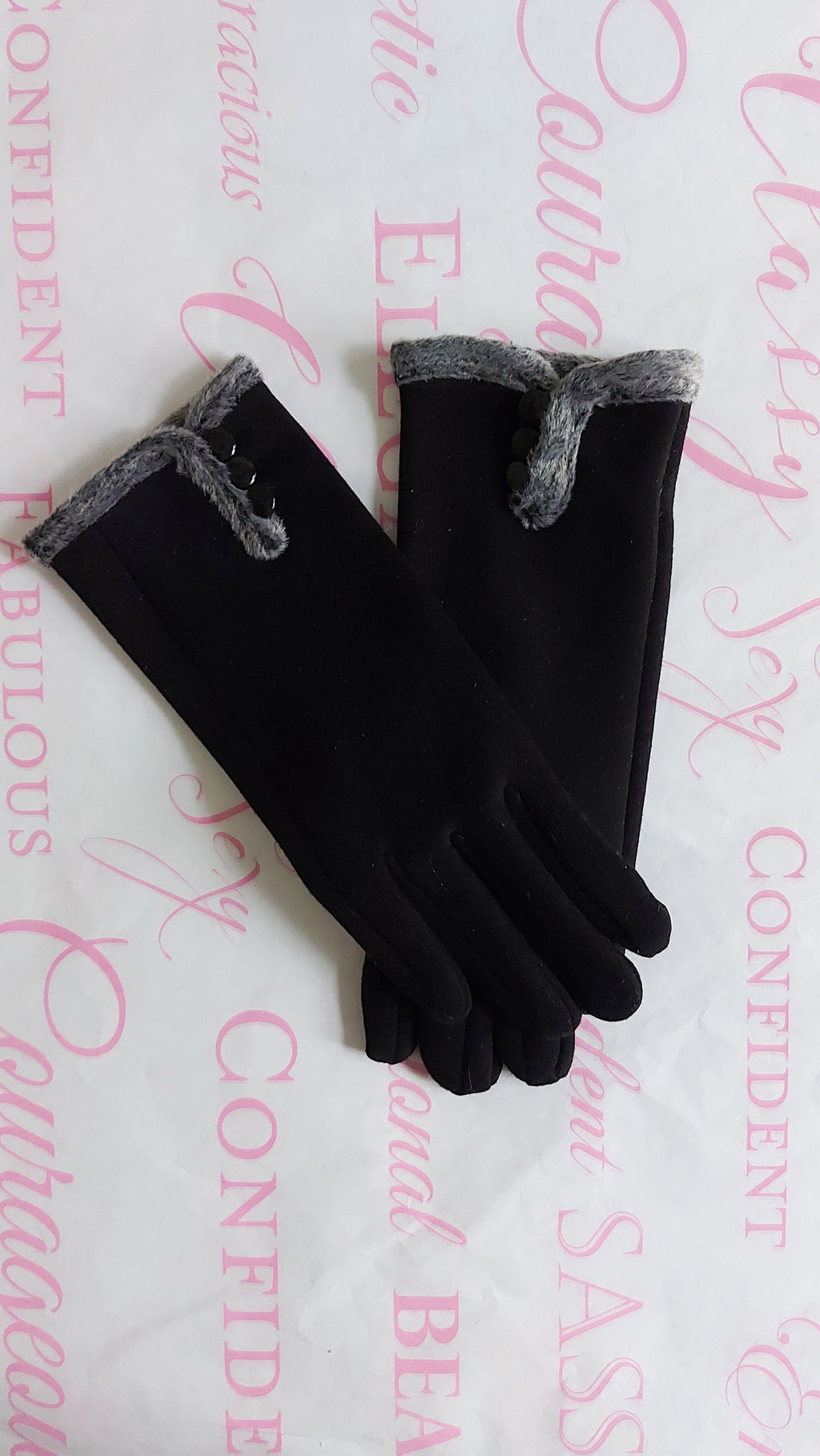 Button Fur Suede Gloves - OWN YOUR ELEGANCE