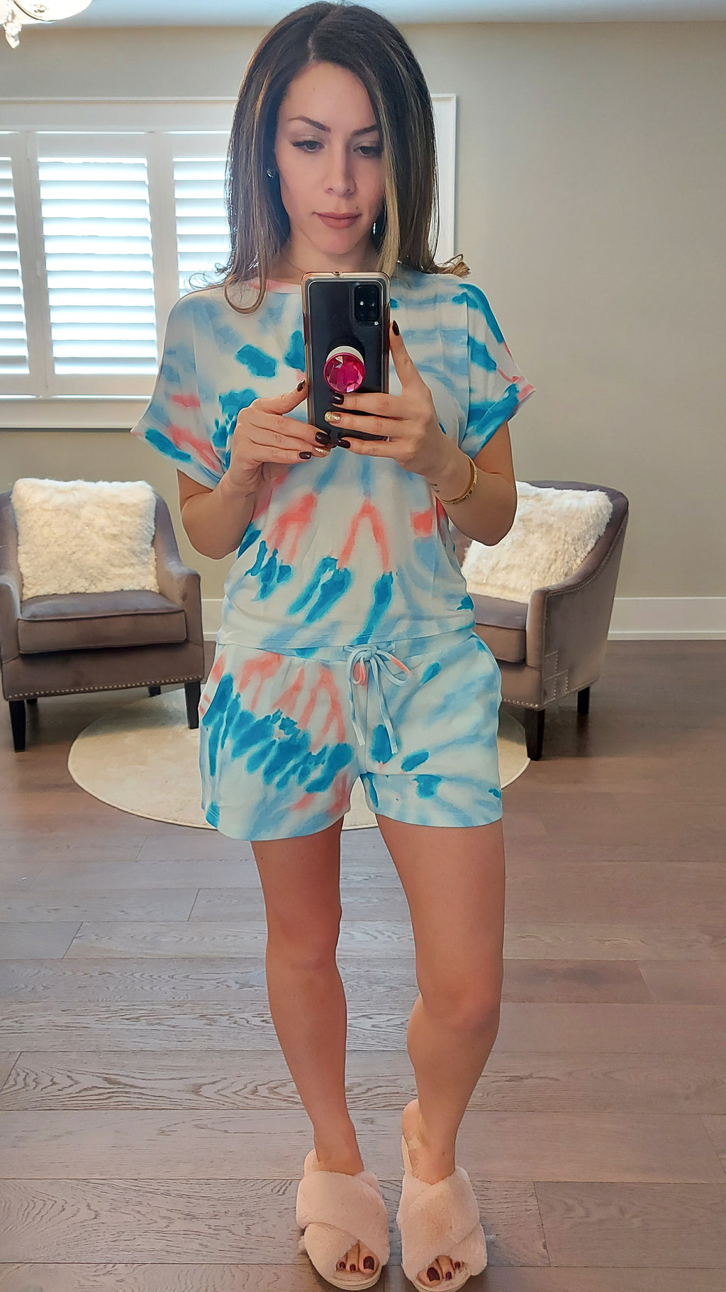 Ocean Swirl Tie Dye Lounge Set - Shorts