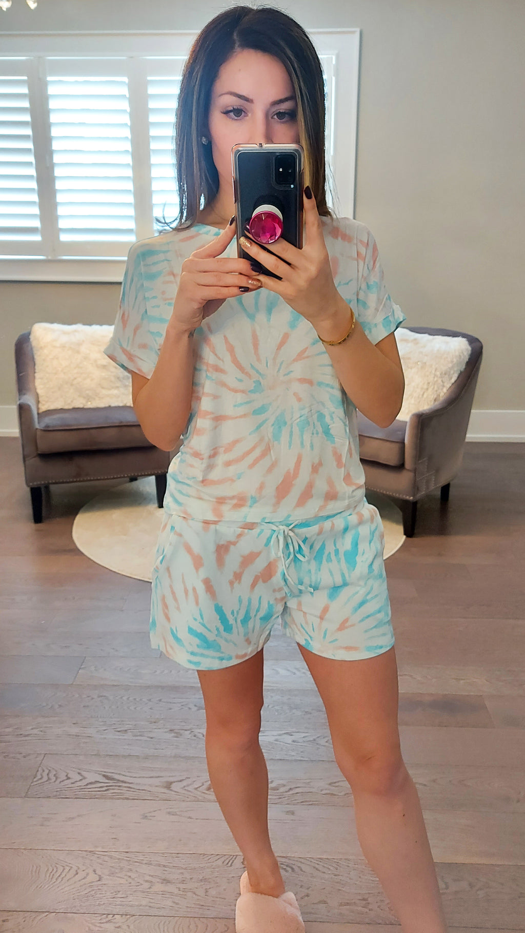 Rose Swirl Tie Dye Lounge Set - Shorts