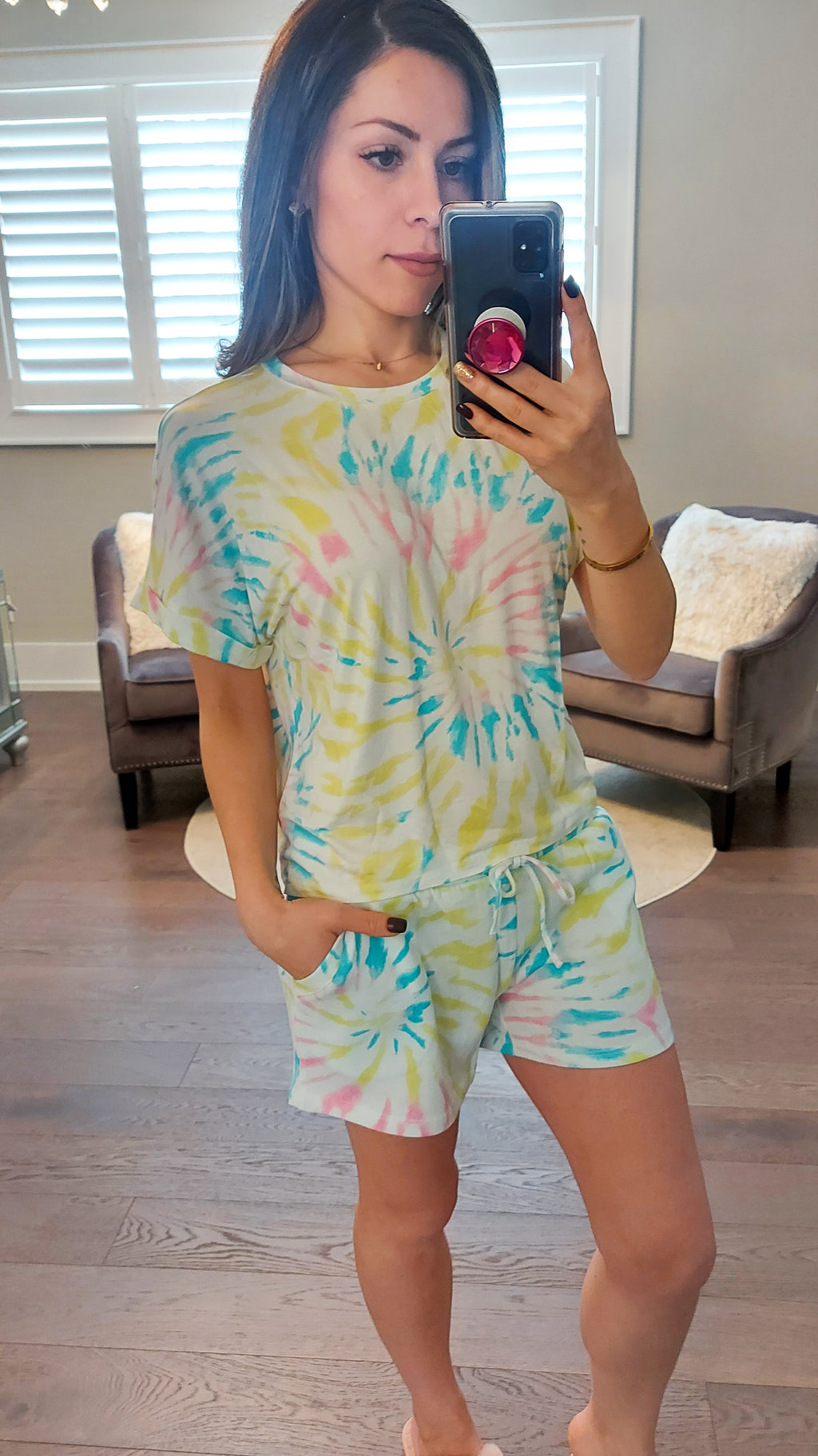 Lime Swirl Tie Dye Lounge Set - Shorts