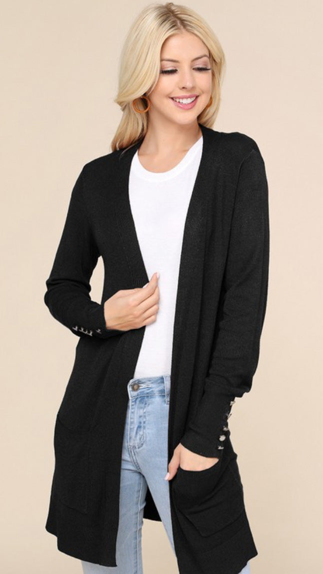 Button Cuff Cardigan