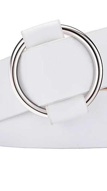 Belt With Buckle - White - OWN YOUR ELEGANCE