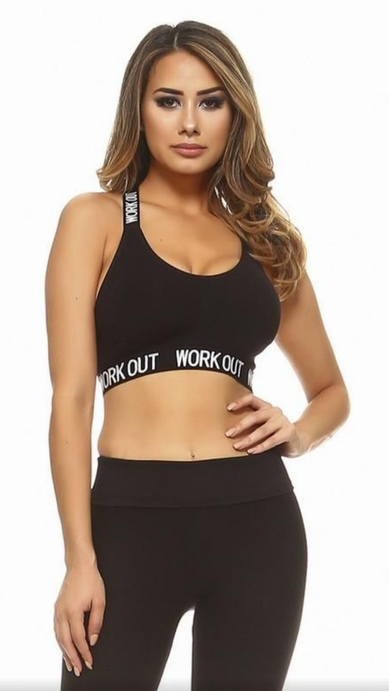 Workout Sports Bra - Black - OWN YOUR ELEGANCE