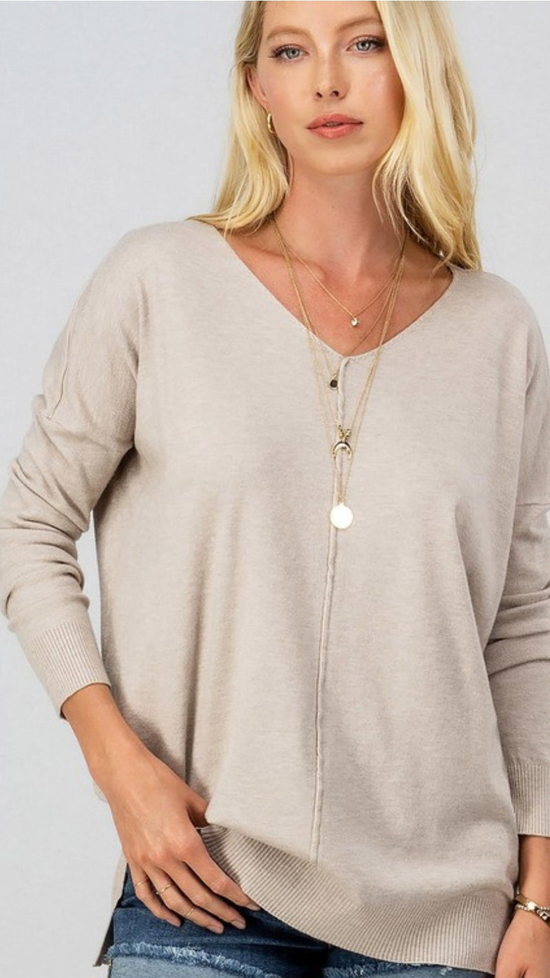 Super Soft Tunic Sweater - Taupe