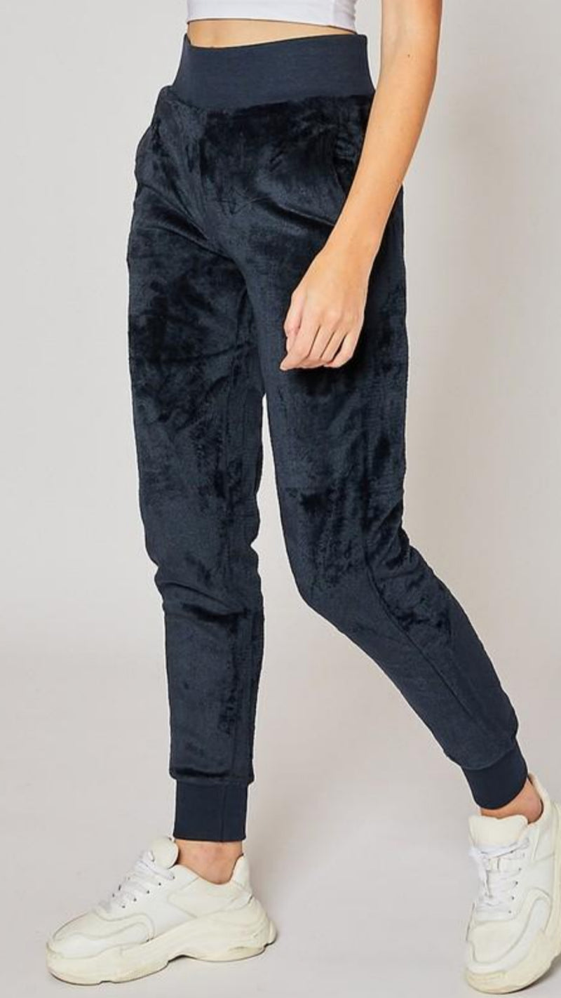 Velour Jogger - Navy - OWN YOUR ELEGANCE
