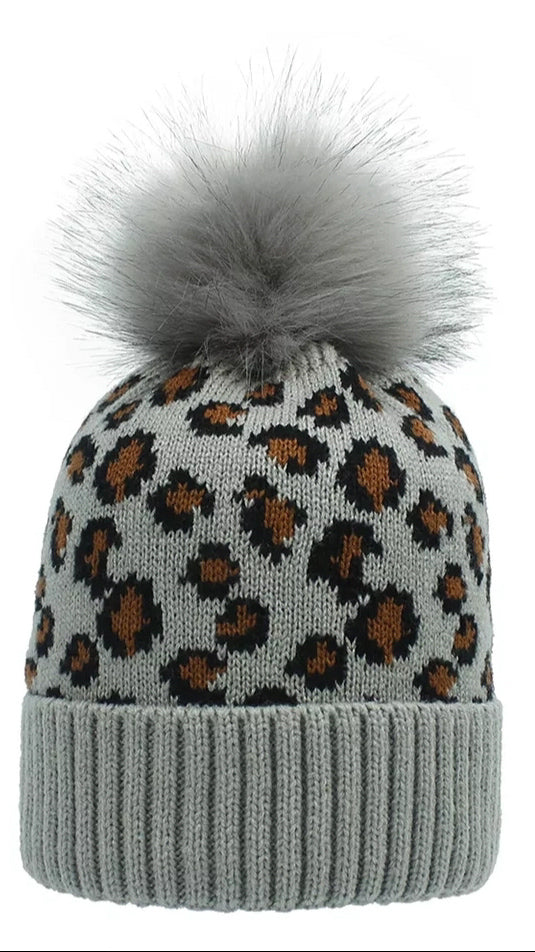 Adult Leopard Beanie - Grey - OWN YOUR ELEGANCE