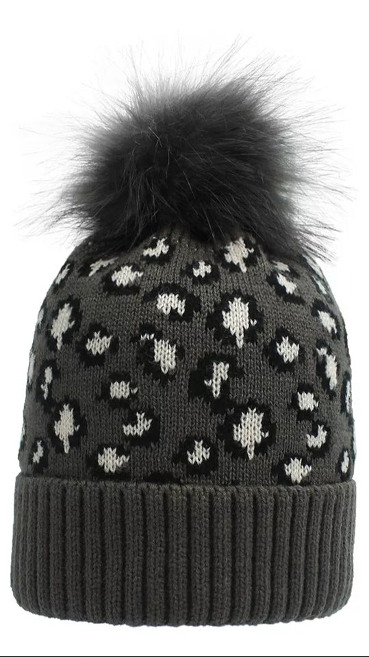 Adult Leopard Beanie - Charcoal - OWN YOUR ELEGANCE