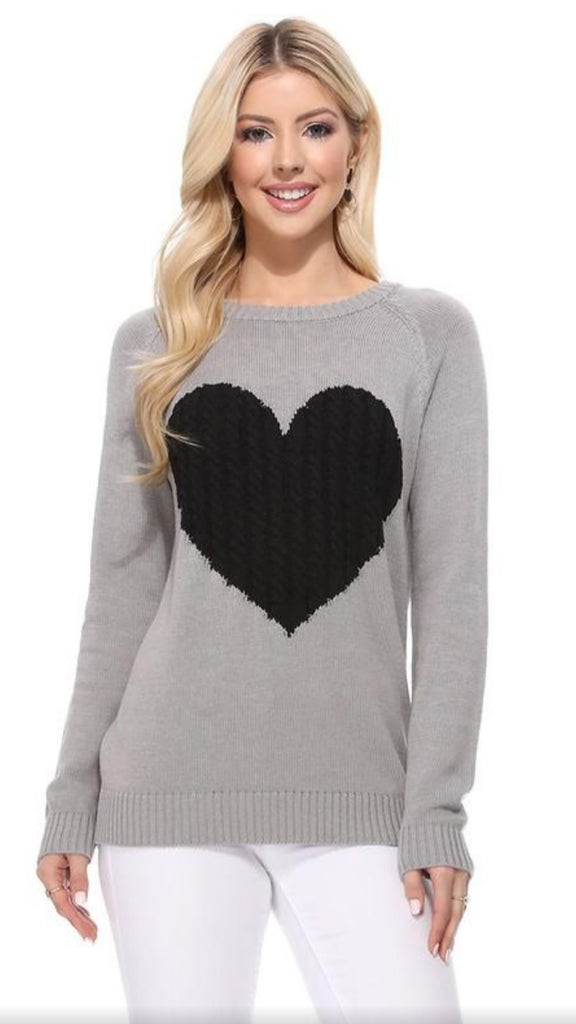 Love Her Sweater - Grey/Black - OWN YOUR ELEGANCE