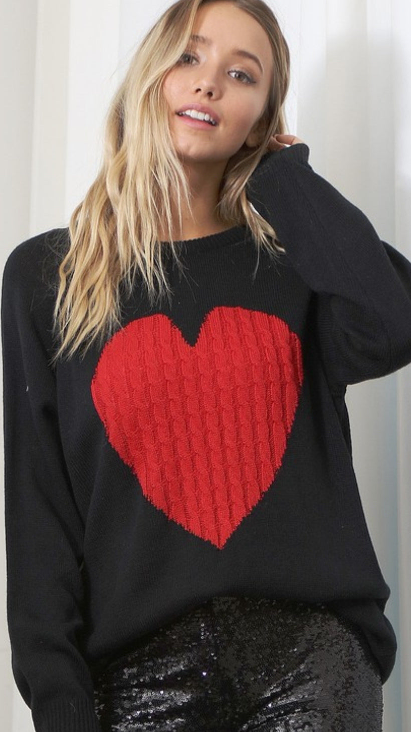 Love Her Sweater - Black/Red - OWN YOUR ELEGANCE