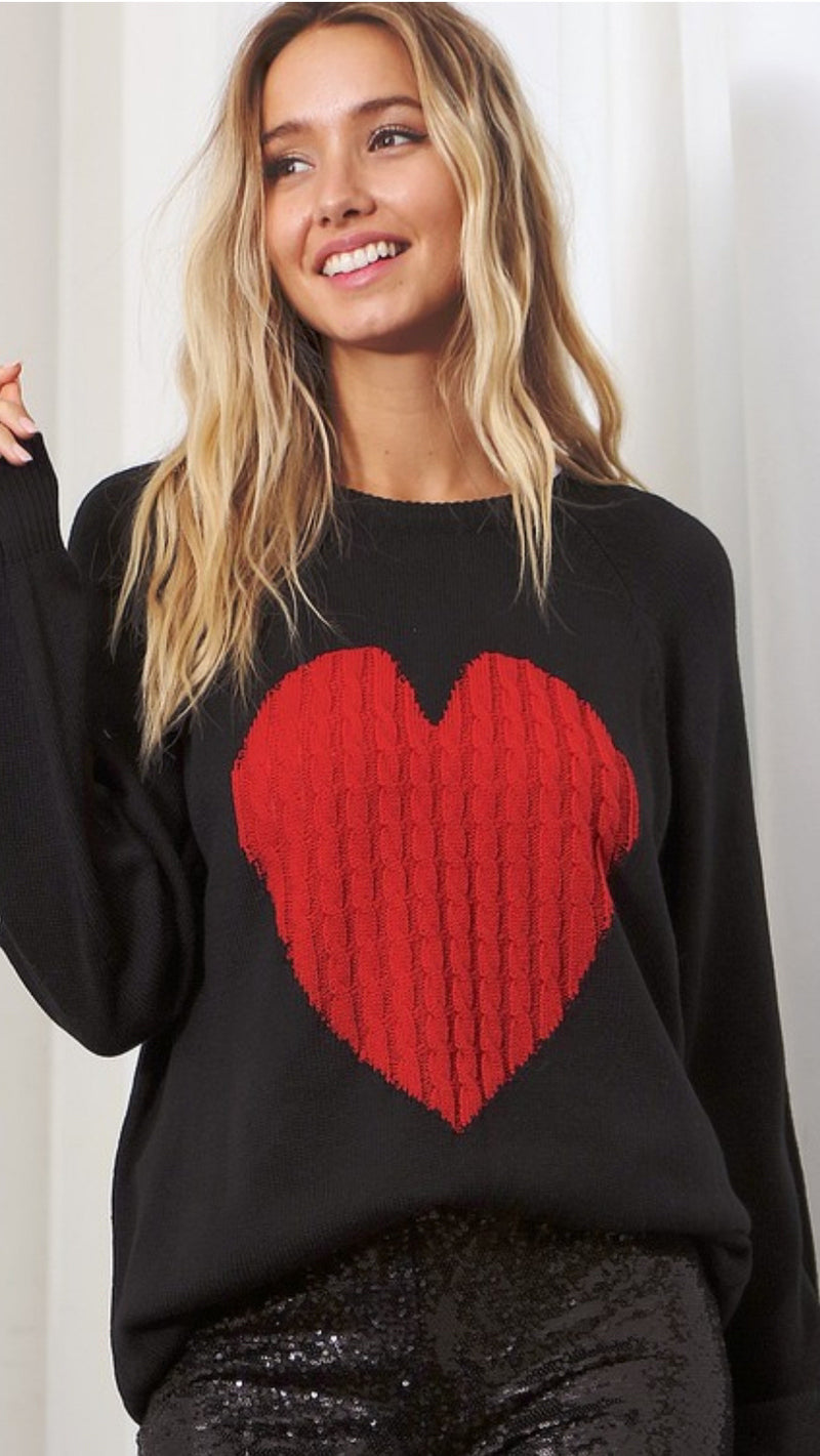 Love Her Sweater - Black/Red.