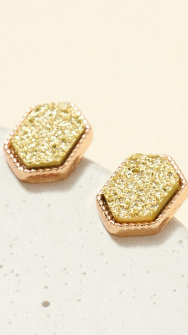 Metallic Hexagon Earring.