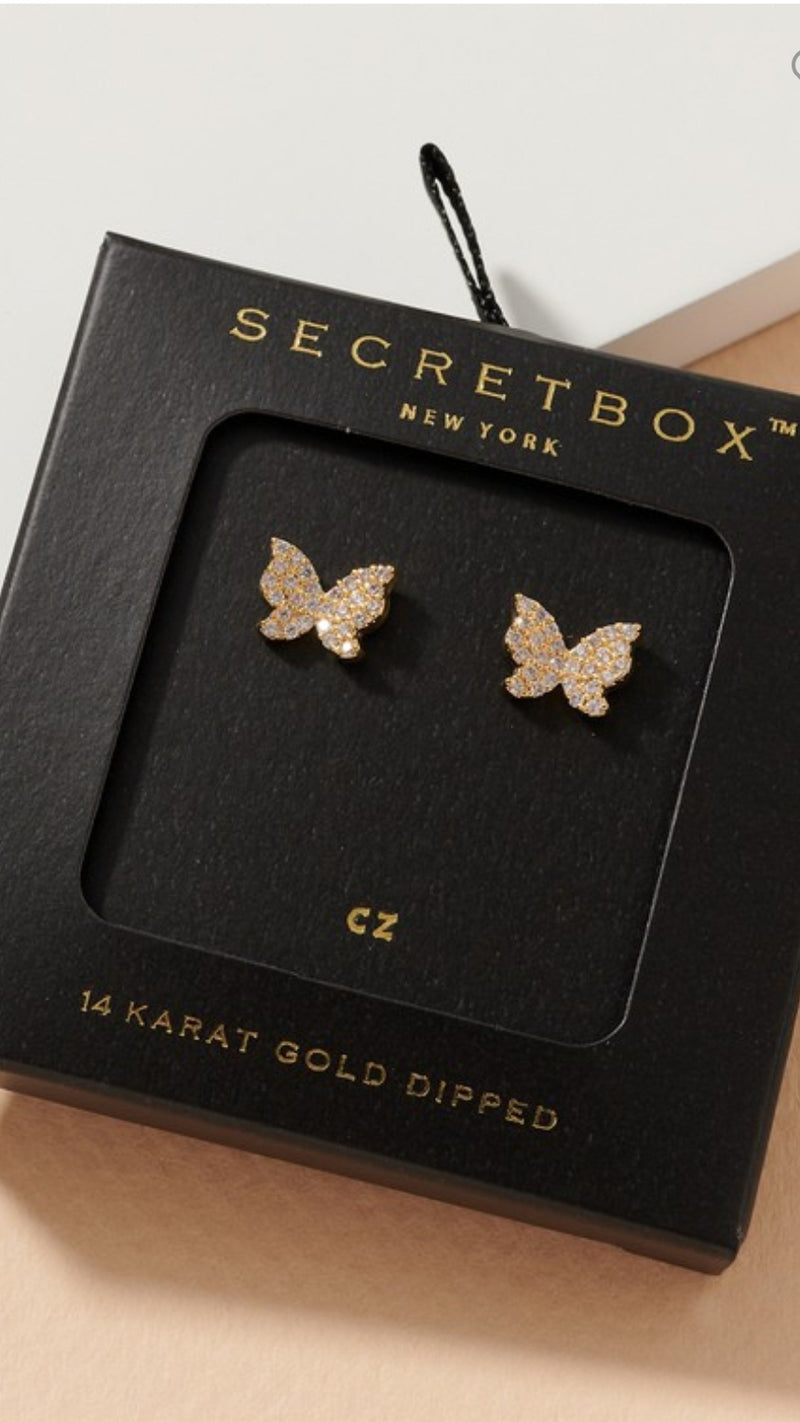 Secret Box Diamond Butterfly Earrings.