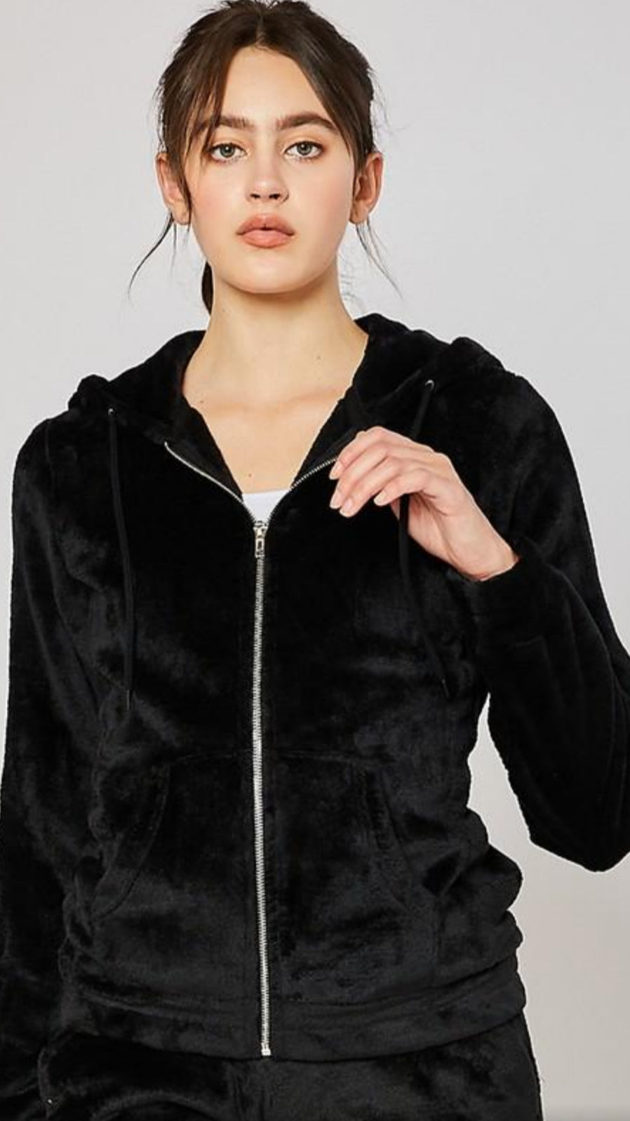 Velour Zip-Up Hoodie - Black.