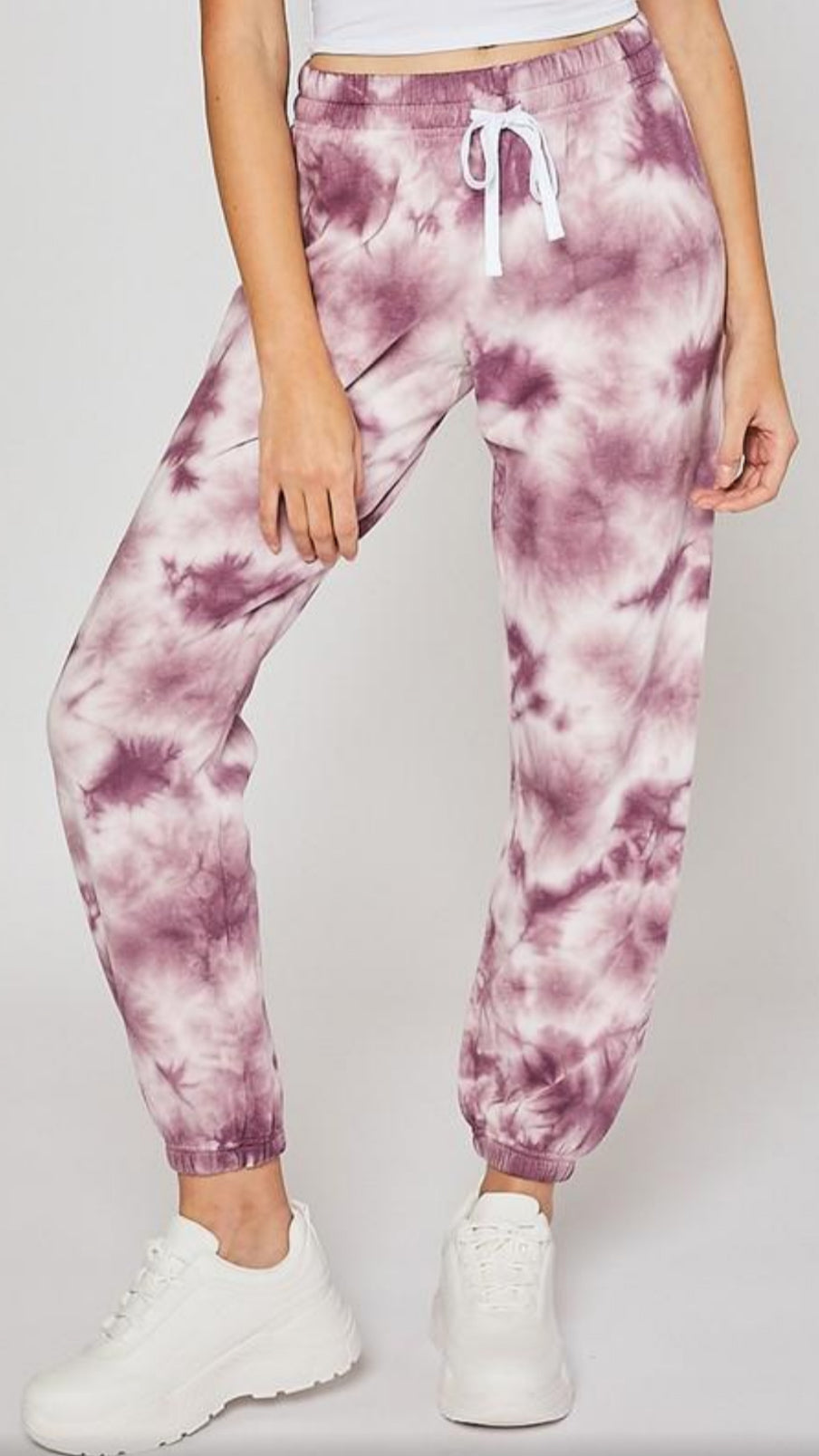 Fleece Jogger - Burgundy Tie Dye.