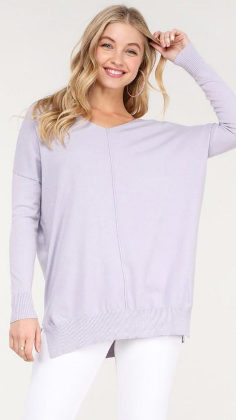 Super Soft Tunic Sweater - Lilac.