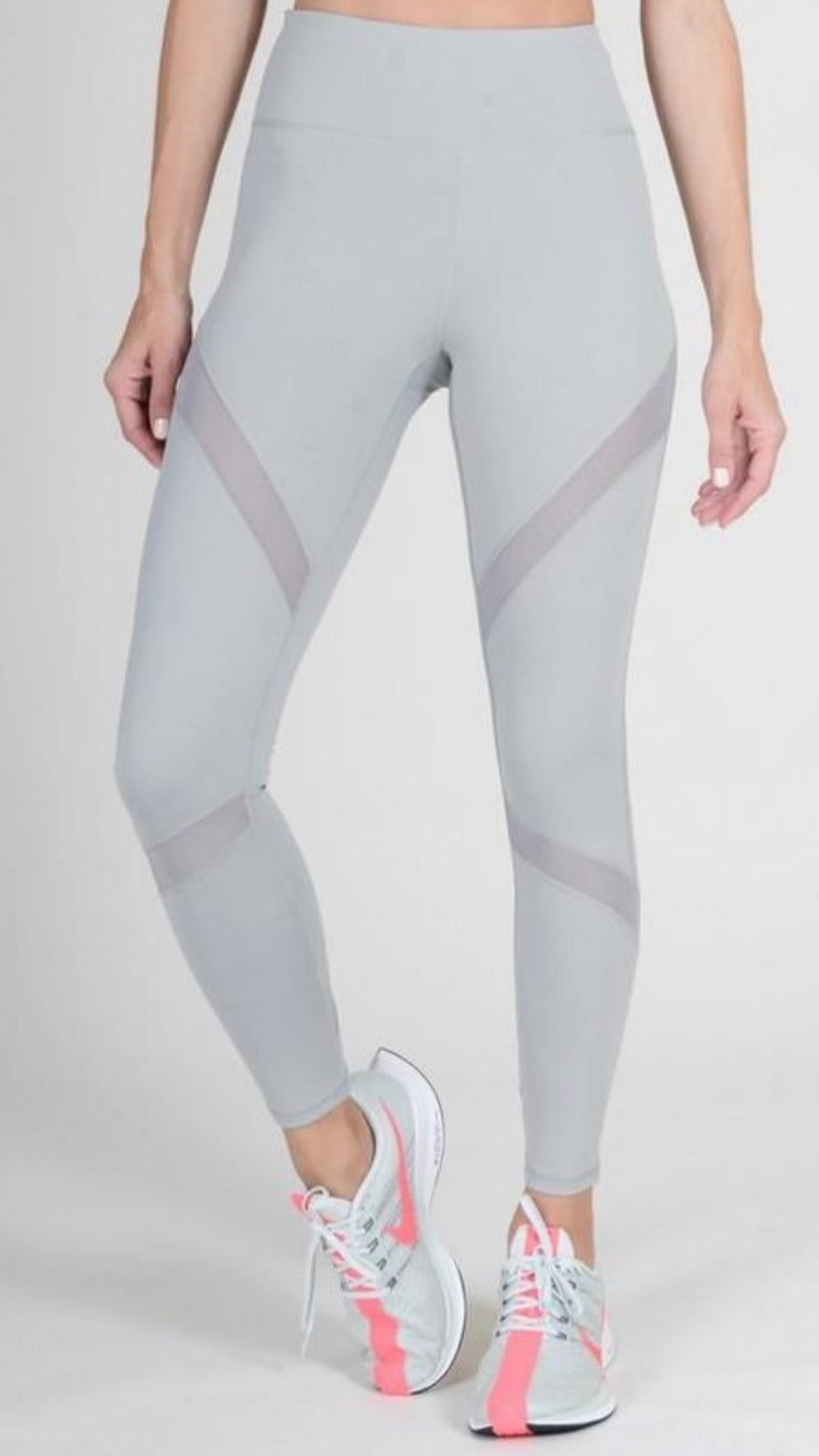 NEW YELETE Metal Grey Mesh Leggings.