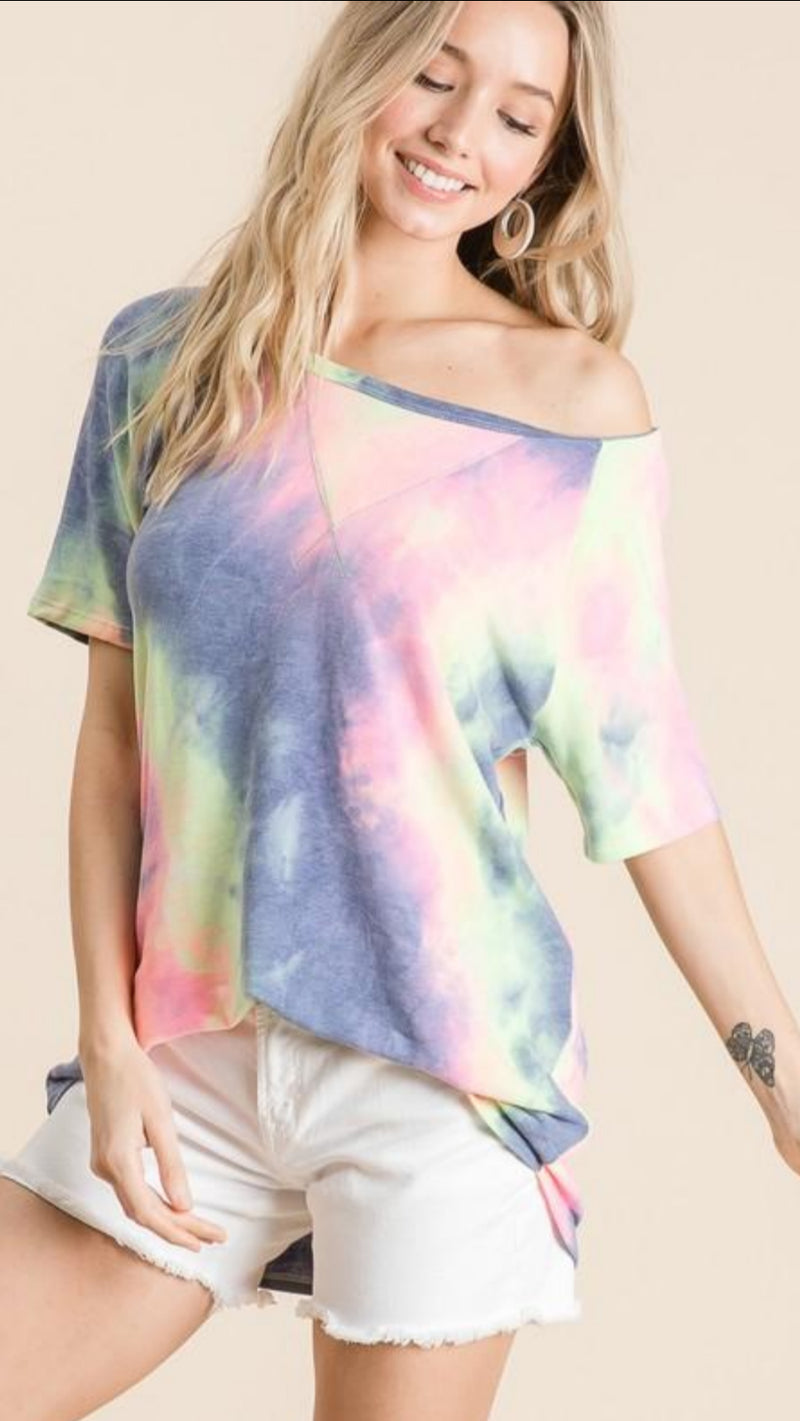 New Winter BIBI - Tie Dye One Shoulder Top.