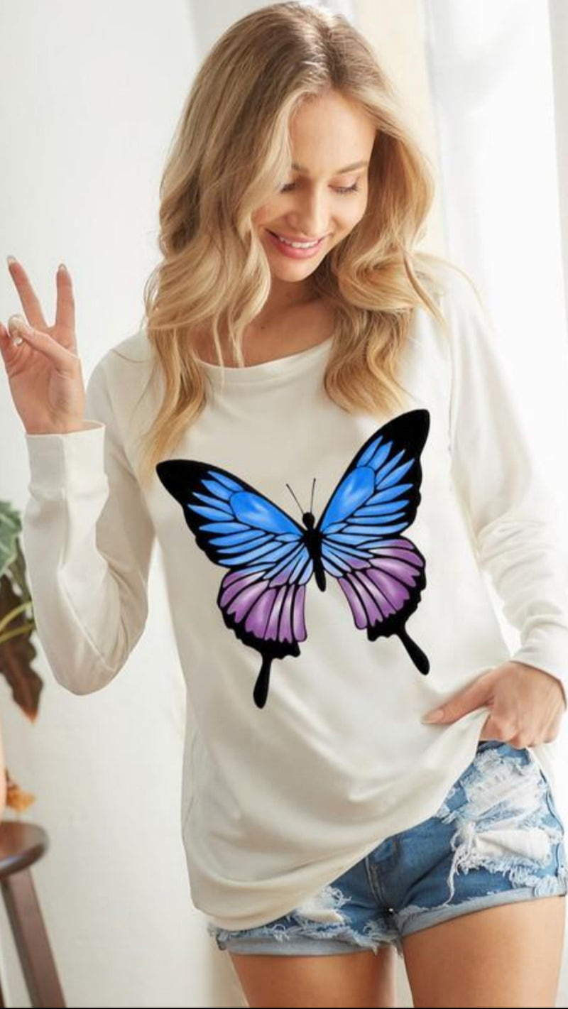 New Winter BIBI - Butterfly One Shoulder Long Sleeve Top.