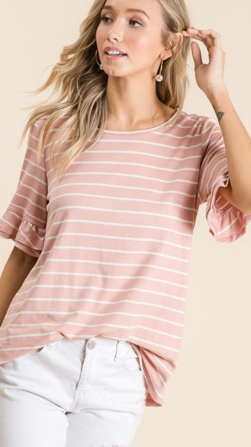 New Winter BIBI - Ruffle Sleeve Striped Short Sleeve Top.