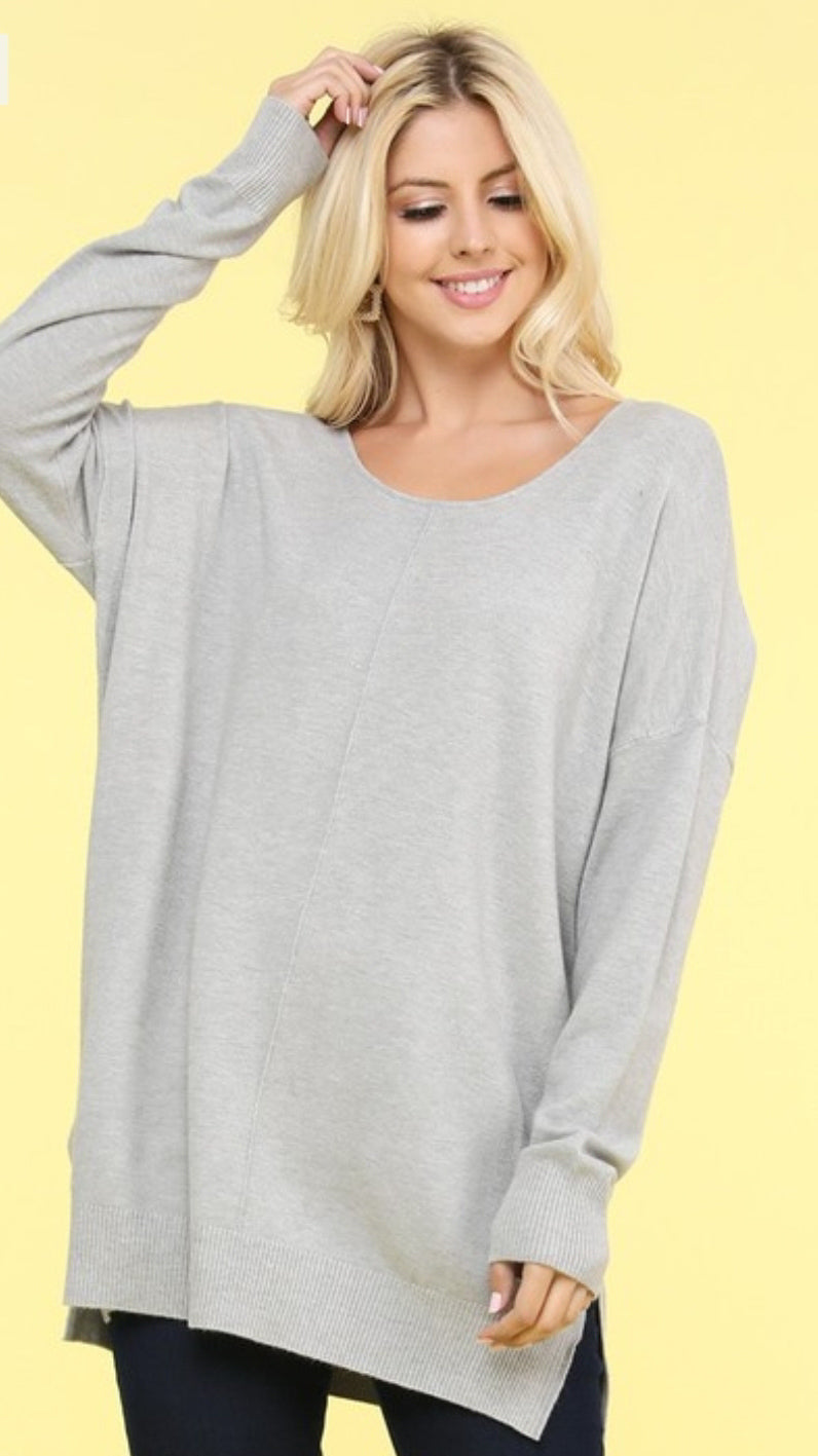 Super Soft Tunic Sweater - Heather Grey.