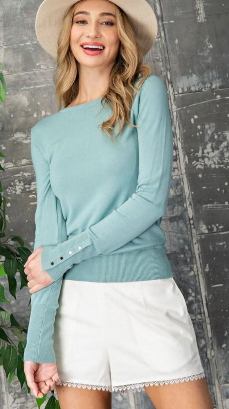 NEW EESOME Button Cuff Sweater.